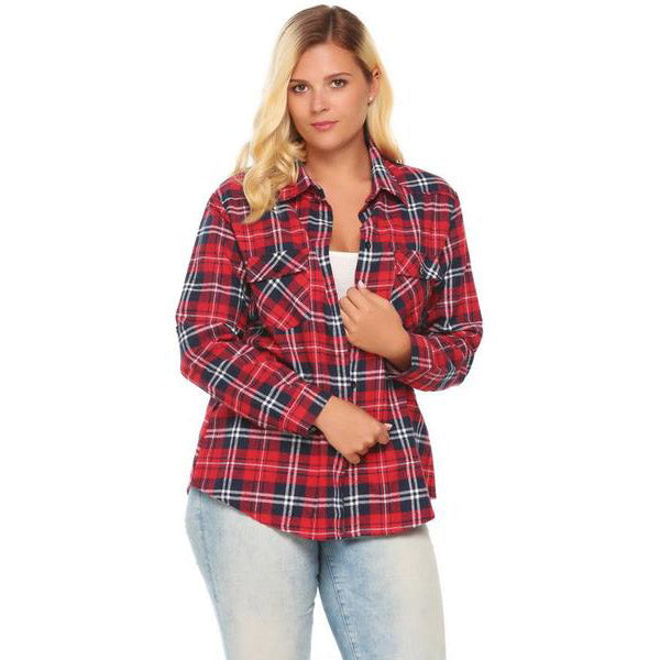 Button Down Classic Plaid Shirt-Laura Sonia