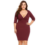 Bodycon V-Neck 3/4 Sleeve Stretchy Mini Dress-Laura Sonia