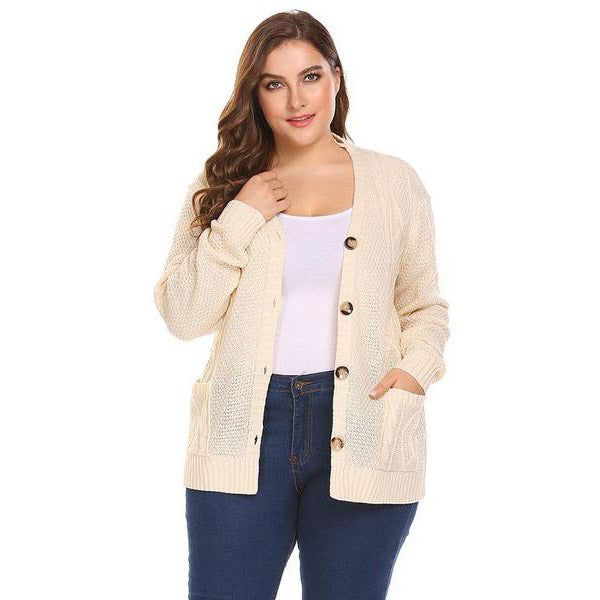 Classic Knit Cardigan Sweater-Laura Sonia