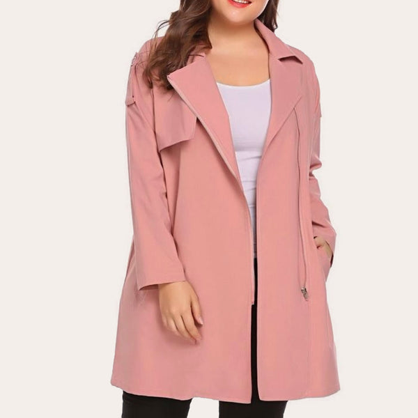 Lapel Long Sleeve Trench Coat-Laura Sonia