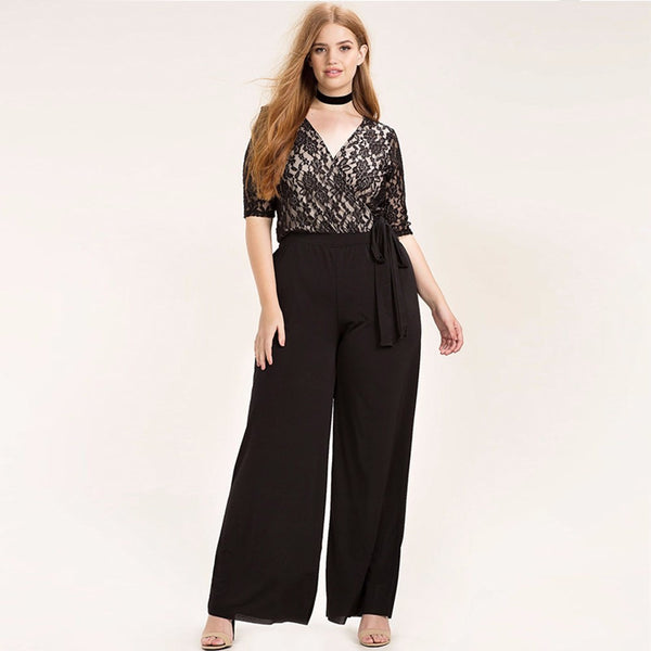 Casual Black Rose Embroidered Surplice Wrap Lace Patchwork Jumpsuit-Laura Sonia