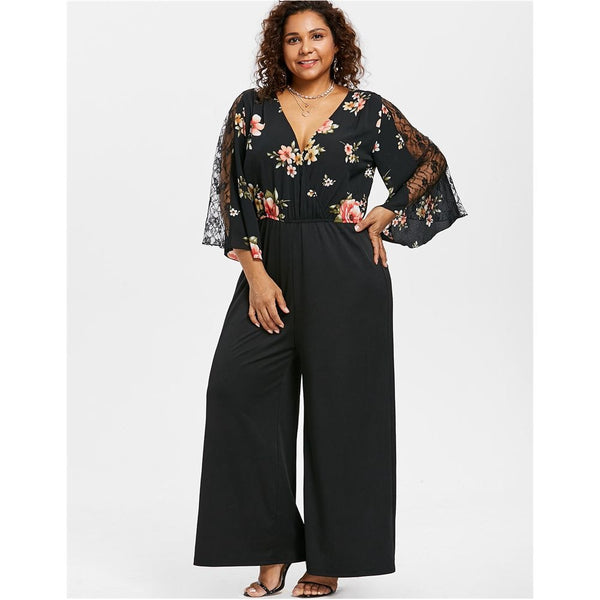 Floral Flare Sleeve Wide Leg Jumpsuit-Laura Sonia