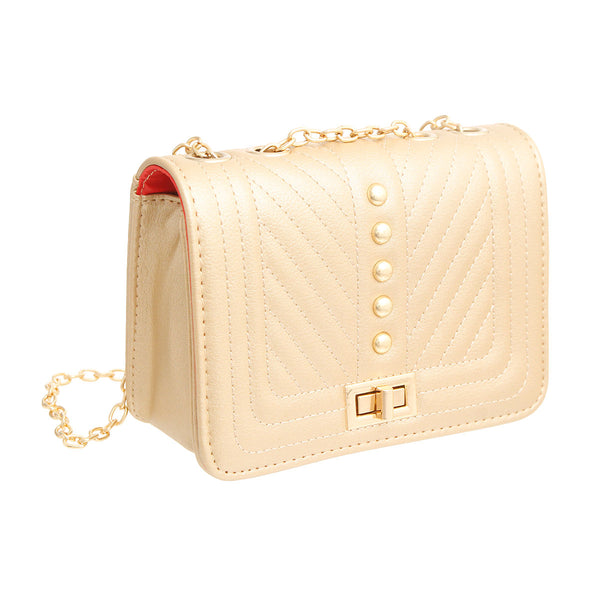 Gold Quilted Chevron Crossbody