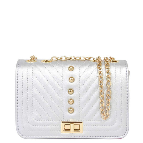 Silver Quilted Chevron Crossbody