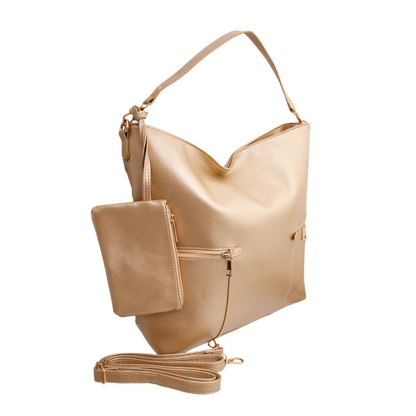 Gold Leather Hobo Tote Bag