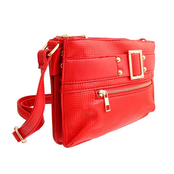 Red Leather Buckle Crossbody