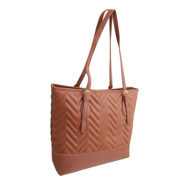 Mauve Leather Chevron Tote Bag