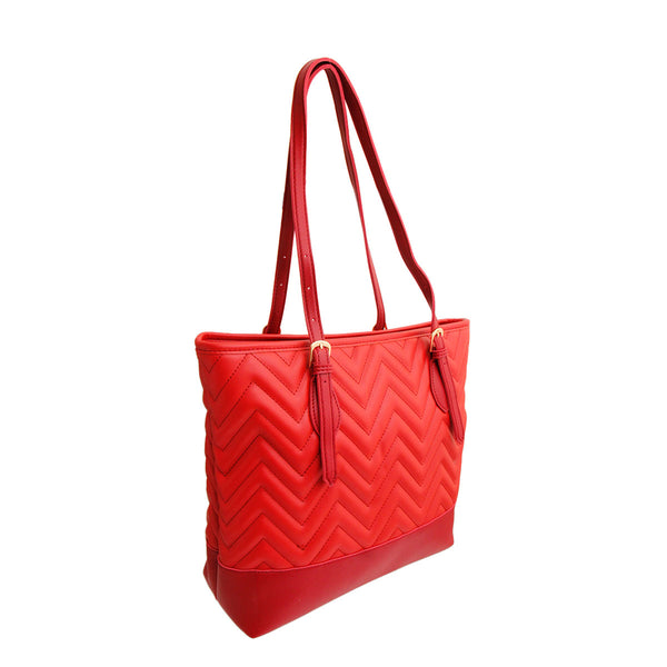 Red Leather Chevron Tote Bag