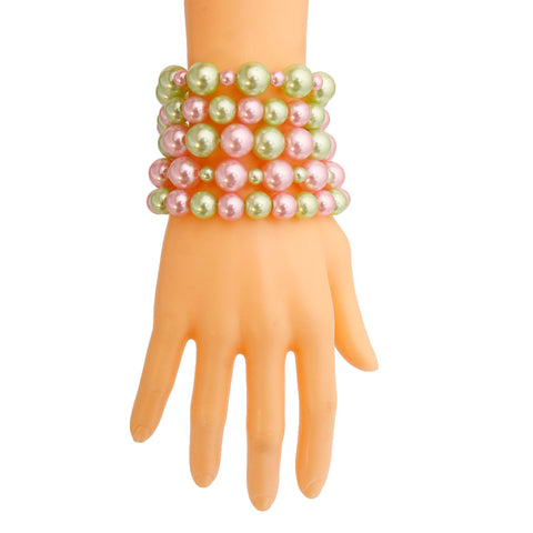 Pink and Green Pearl 5 Pc Bracelets