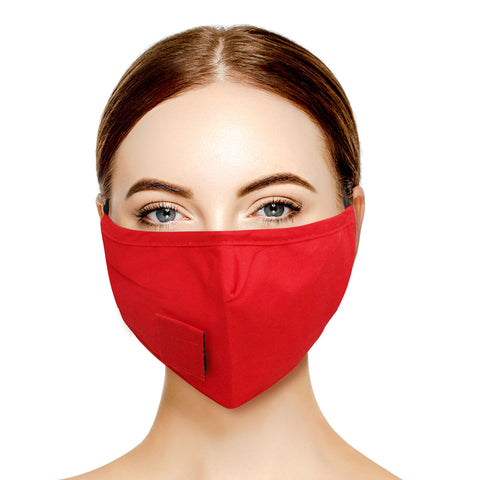 Red Cotton Velcro Face Mask