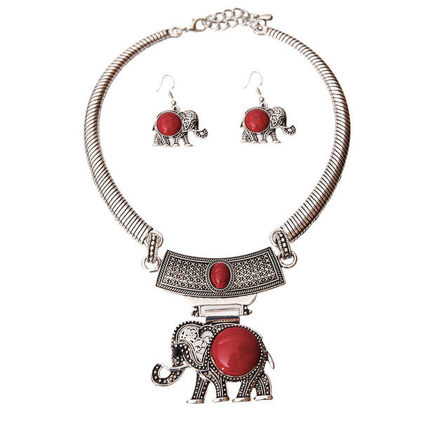 Burnished Silver Red Elephant Choker Set