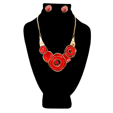 Red Hammered Necklace Set