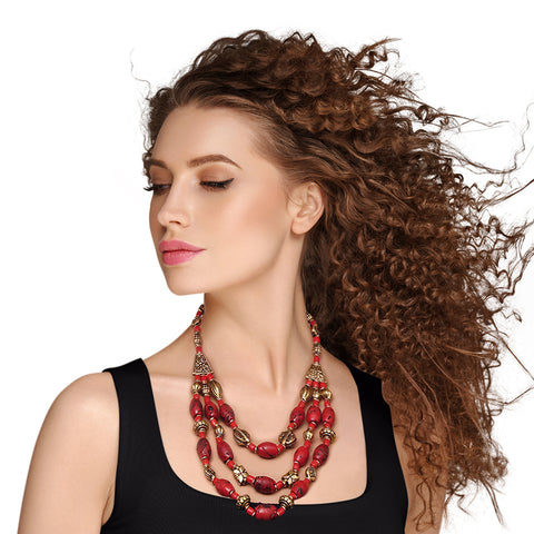 Red Bead Tribal Necklace
