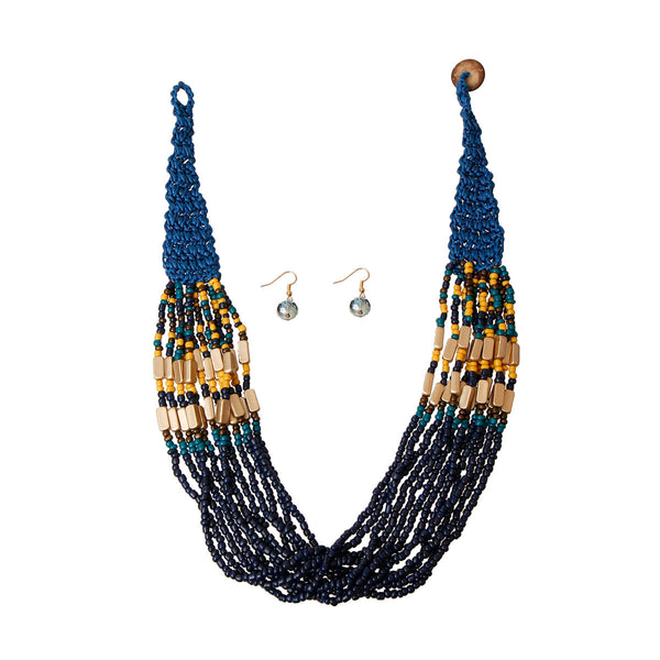 Blue Bead and Woven Cord Set