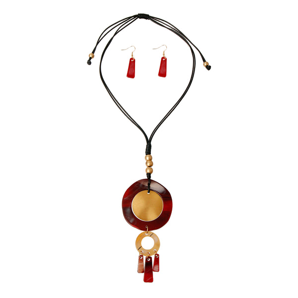 Round Red and Gold Pendant Set