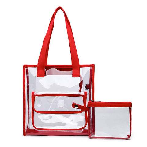 Red Trim Clear Tote Bag