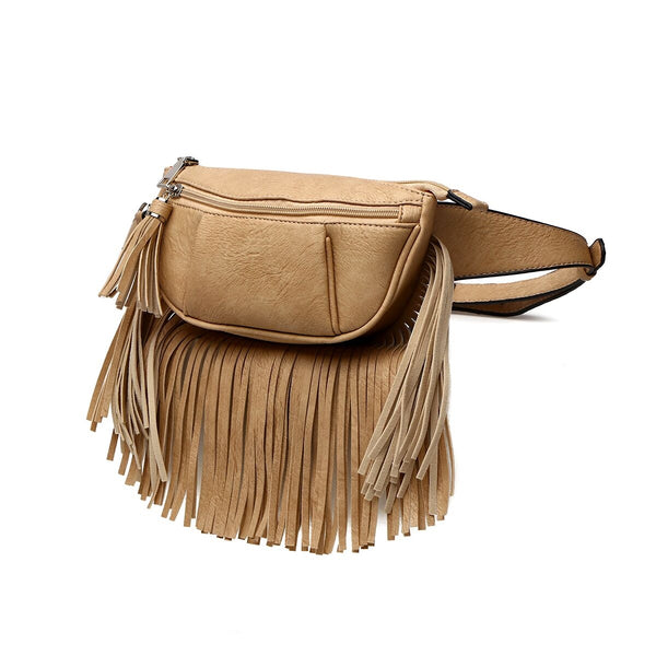 Light Brown Leather Fringe Waist Fanny