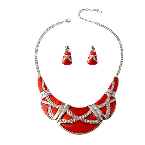 Silver and Red Necklace Set