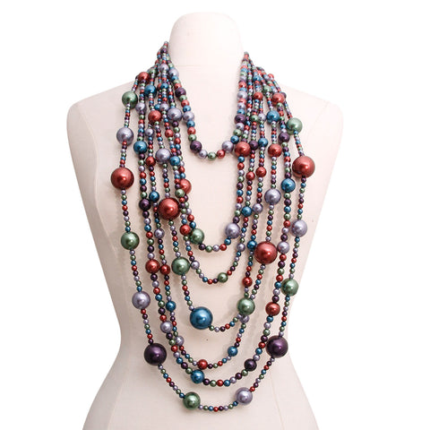 Multi Color 4 Strand Long Pearls