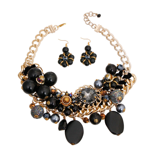 Chunky Gold and Black Pearl Bead Set