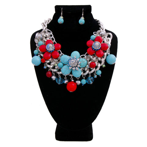 Chunky Chain with Red and Blue Cracked Turquoise Bead Necklace Set