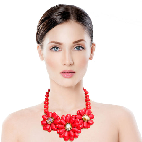 Coral Cracked Flower Beaded Necklace