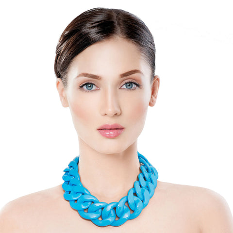 Bright Blue Link Necklace Set