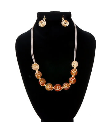Amber Glass Bead Cord Necklace Set