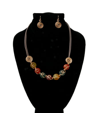 Multi Color Glass Bead Cord Necklace Set