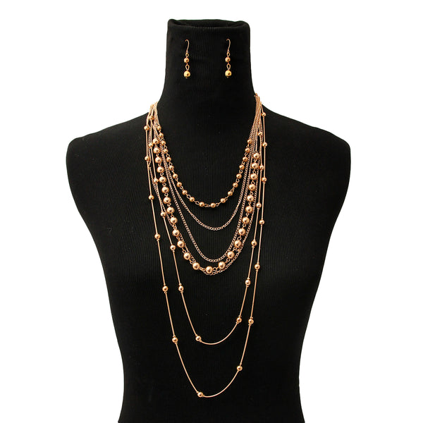 Metal Ball Layered Necklace Set