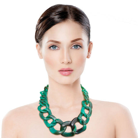 Swirled Green Link Necklace Set