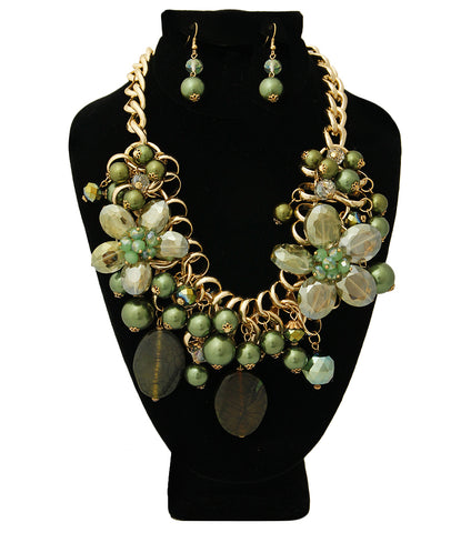Chunky Chain Green Pearl and Bead Necklace Set