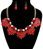 Marquise Red Crystal Cluster Necklace Set