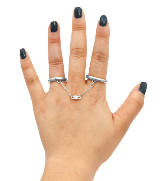 Chain Link Two Finger Ring