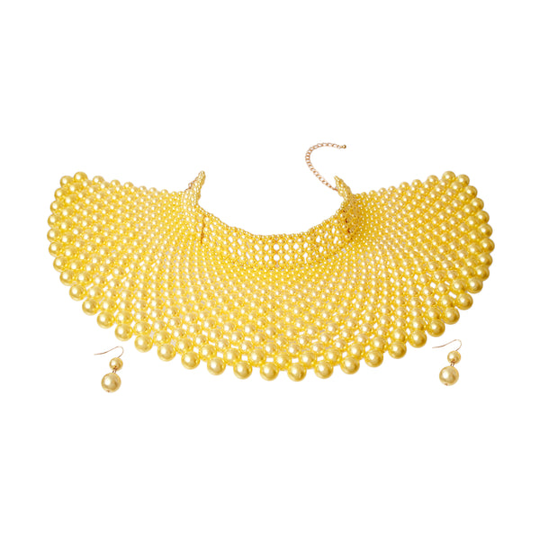 Yellow Pearl Cleopatra Choker Set