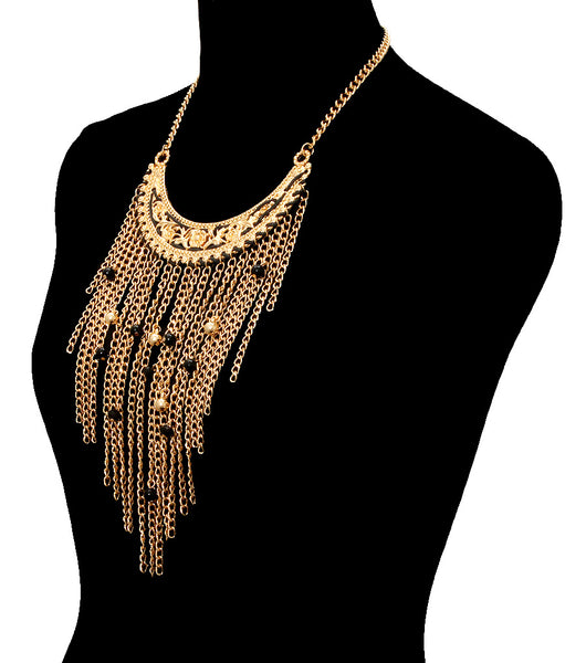 Tassel with Beads Necklace Set