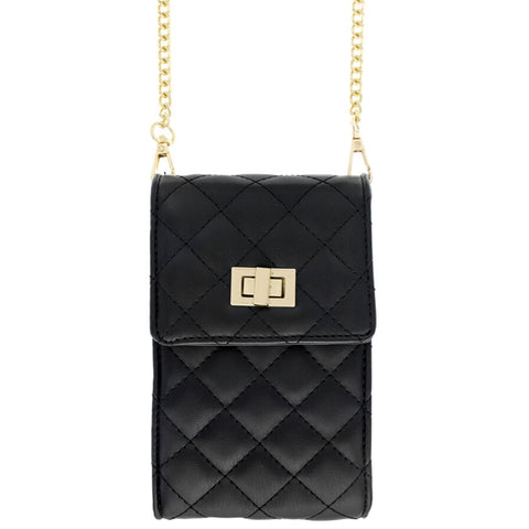 Black Quilted Cellphone Crossbody