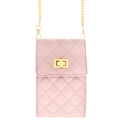 Pink Quilted Cellphone Crossbody