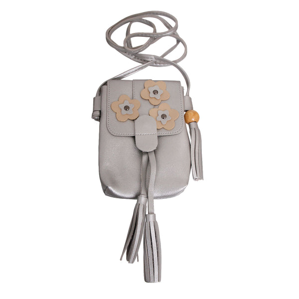 Silver Leather Tassel Crossbody