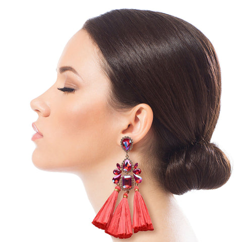 Red Crystal and Raffia Tassel Earrings