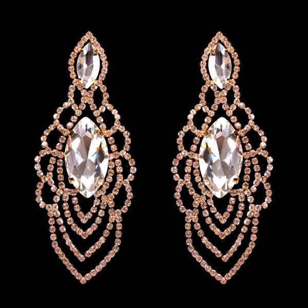 Draped Rhinestone Drop Earrings