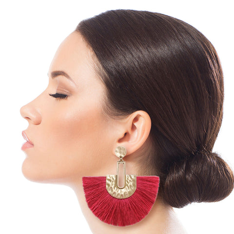 Fuchsia and Gold Fan Tassel Earrings