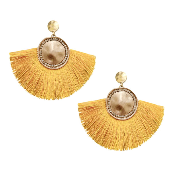 Yello and Gold Fan Tassel Earrings