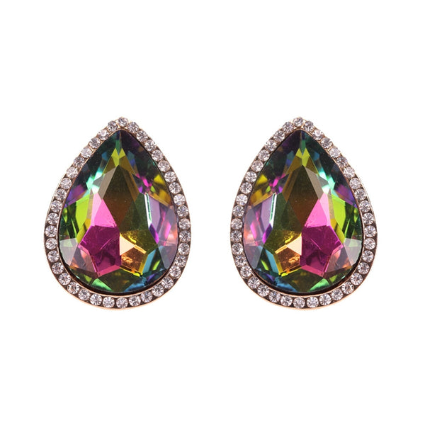 Pink and Green Pear Crystal Studs
