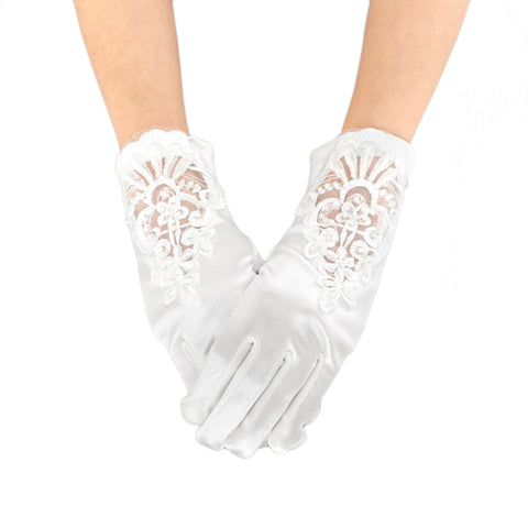 White Pearl Embroidered Gloves