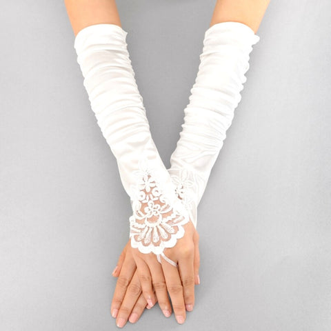 Long Embroidered Fingerless Gloves