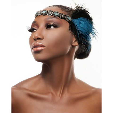 Blue Crystal Feather Headband