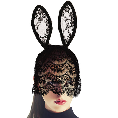 Black Lace Long Bunny Ears and Veil