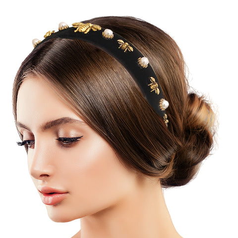 Black Burnished Gold Bee Headband