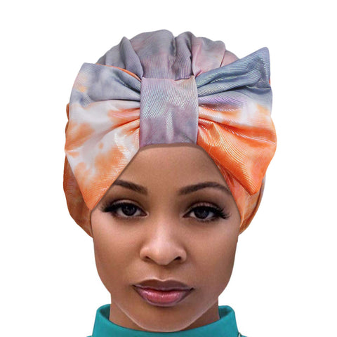 Orange Tie Dye Bow Turban